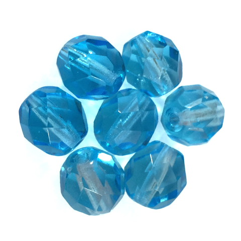 Light Turquoise - Glass Fire Polished Beads, 8mm