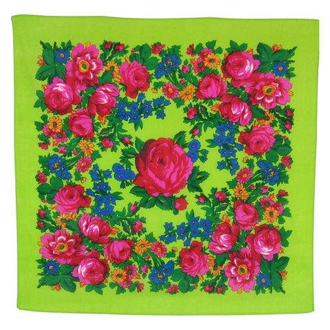 Lime Green - Floral Scarves