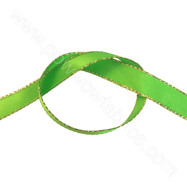 "Lime Green/Gold - 3/8"" Metallic Ribbon"