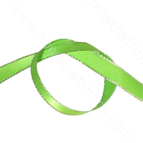 "Apple Green/Silver - 3/8"" Metallic Ribbon"