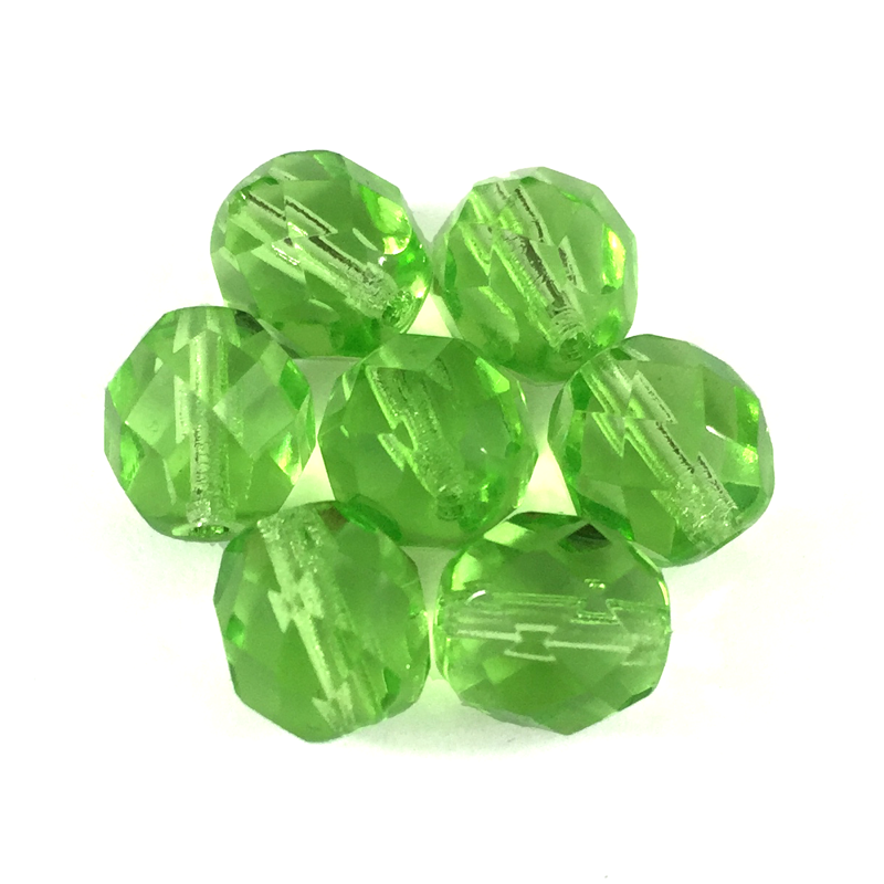 Lime Green - Glass Fire Polished Beads, 8mm