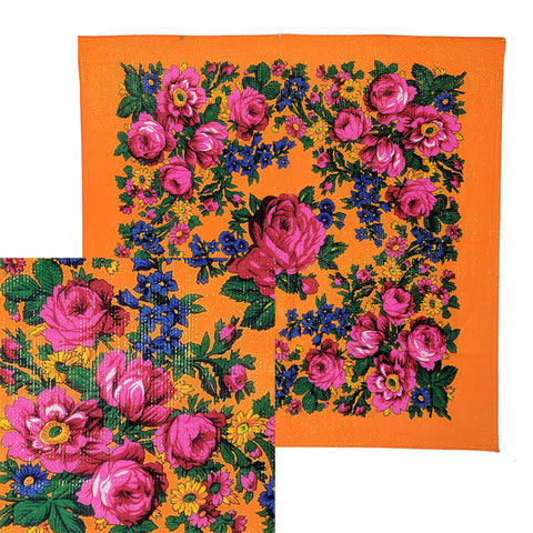 Orange - Metallic Floral Scarves