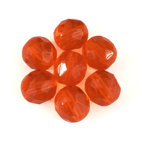 Orange - Glass Fire Polished Beads, 8mm