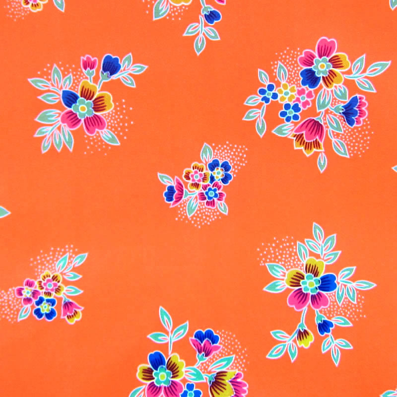 Neon Orange / Pattern #3 - Crystal Floral Satin
