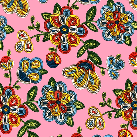 Pink: Beaded Floral - Native Print Cotton