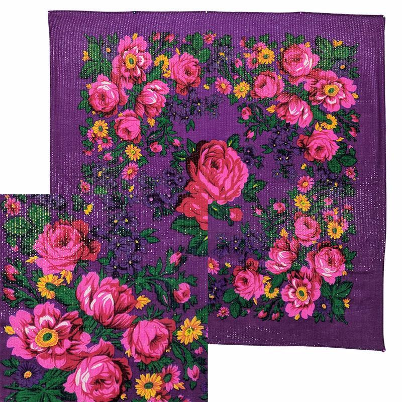 Purple - Metallic Floral Scarves