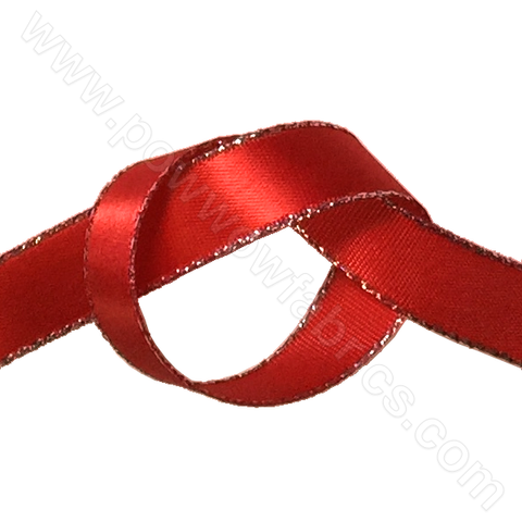 "Red/Silver - 3/8"" Metallic Ribbon"