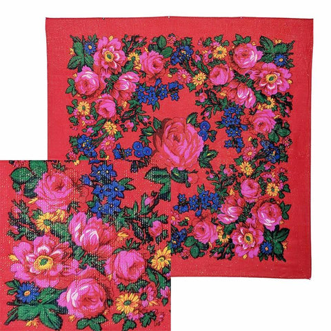 Red - Metallic Floral Scarves