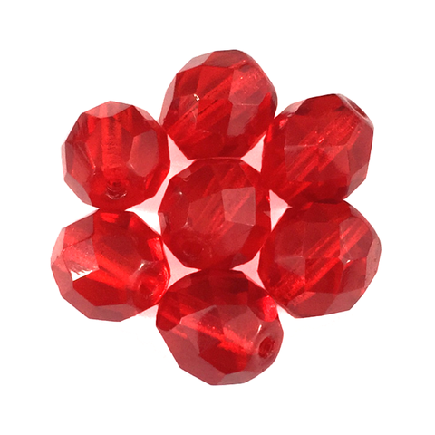 Red - Glass Fire Polished Beads, 8mm