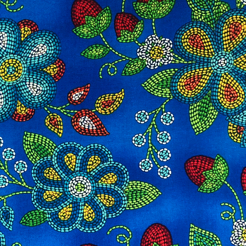 Royal Blue: Ojibwe Beaded Strawberry - Native Print Cotton