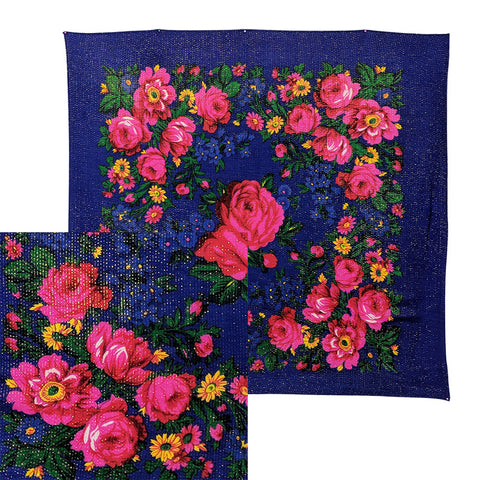 Royal Blue - Metallic Floral Scarves