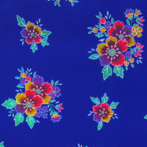 Royal Blue / Pattern #1 - Crystal Floral Satin