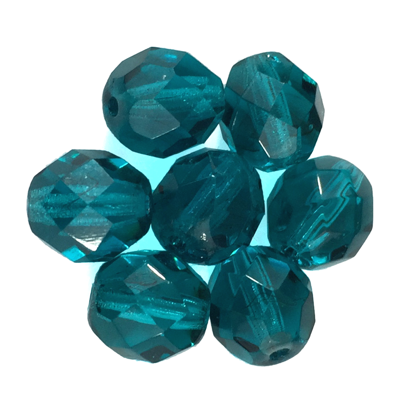 Dark Teal - Glass Fire Polished Beads, 8mm