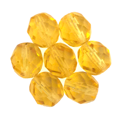 Light Topaz - Glass Fire Polished Beads, 8mm