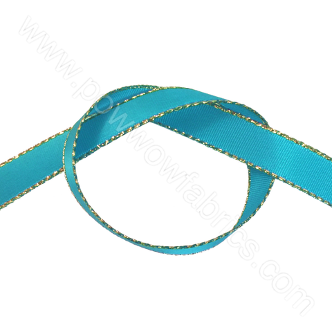 "Turquoise/Gold - 3/8"" Metallic Ribbon"