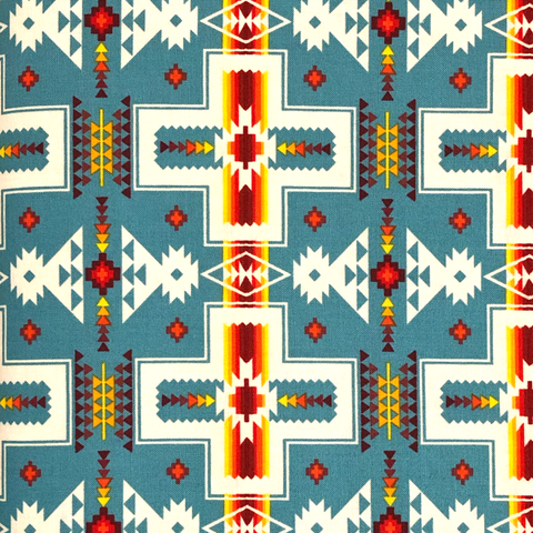 Turquoise: Cross - Native Print Cotton