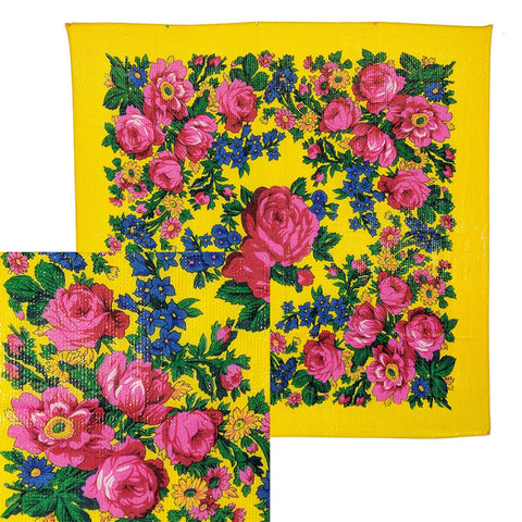 Yellow - Metallic Floral Scarves