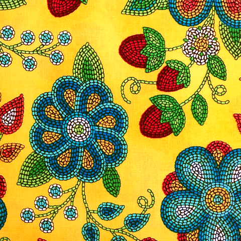 Yellow: Ojibwe Beaded Strawberry - Native Print Cotton