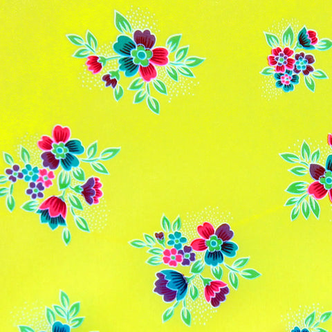 Neon Yellow / Pattern #3 - Crystal Floral Satin