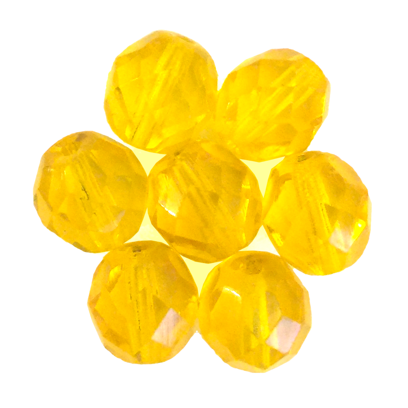 Yellow Gold - Glass Fire Polished Beads, 8mm
