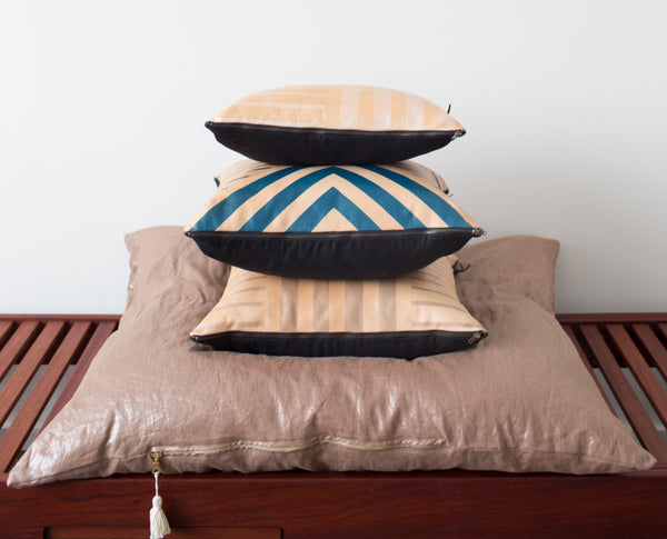Geometric Hand Painted Leather Pillow