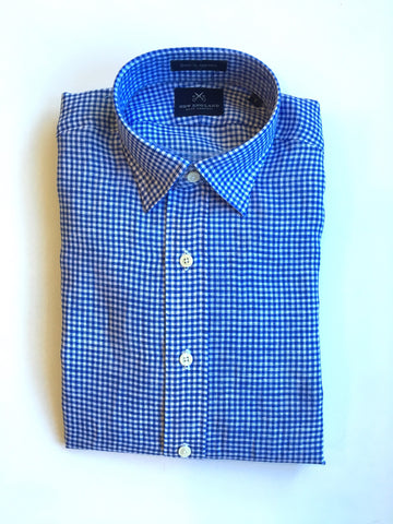 Blue Linen Small Gingham