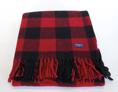 Buffalo Check Wool Throw - Red/Black
