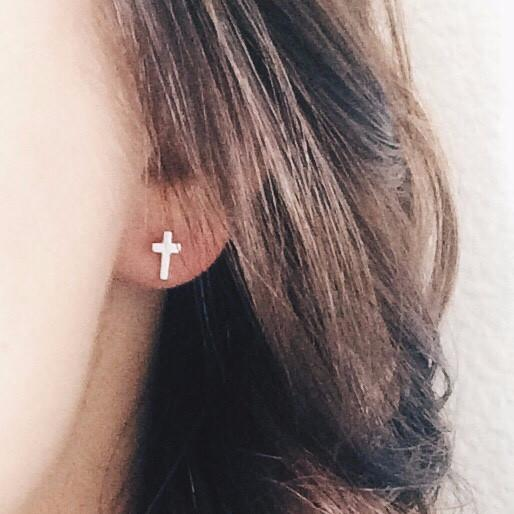 Cross Stud Earrings - Barberry + Lace