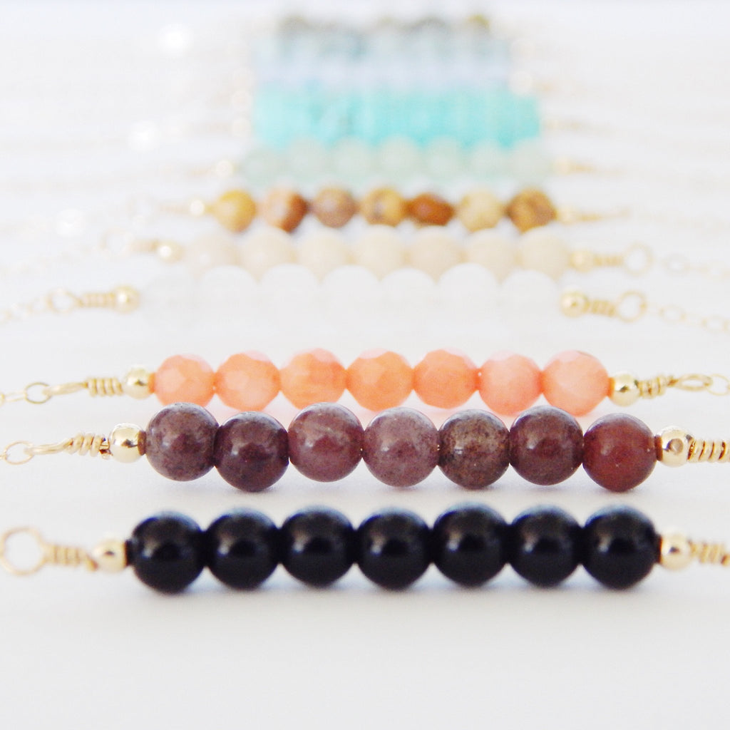 Gemstone Bar Necklace - Barberry + Lace