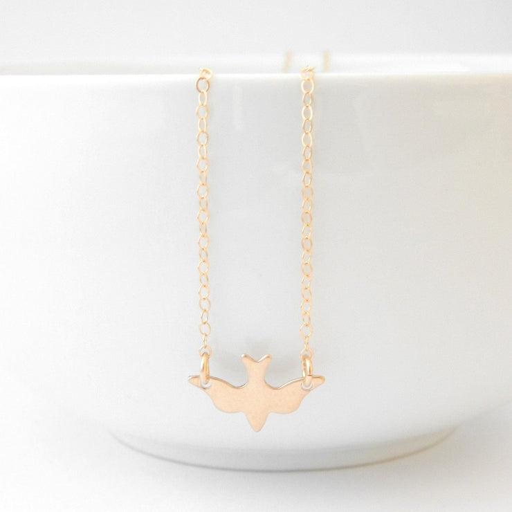 Petite Bird Necklace - Barberry + Lace