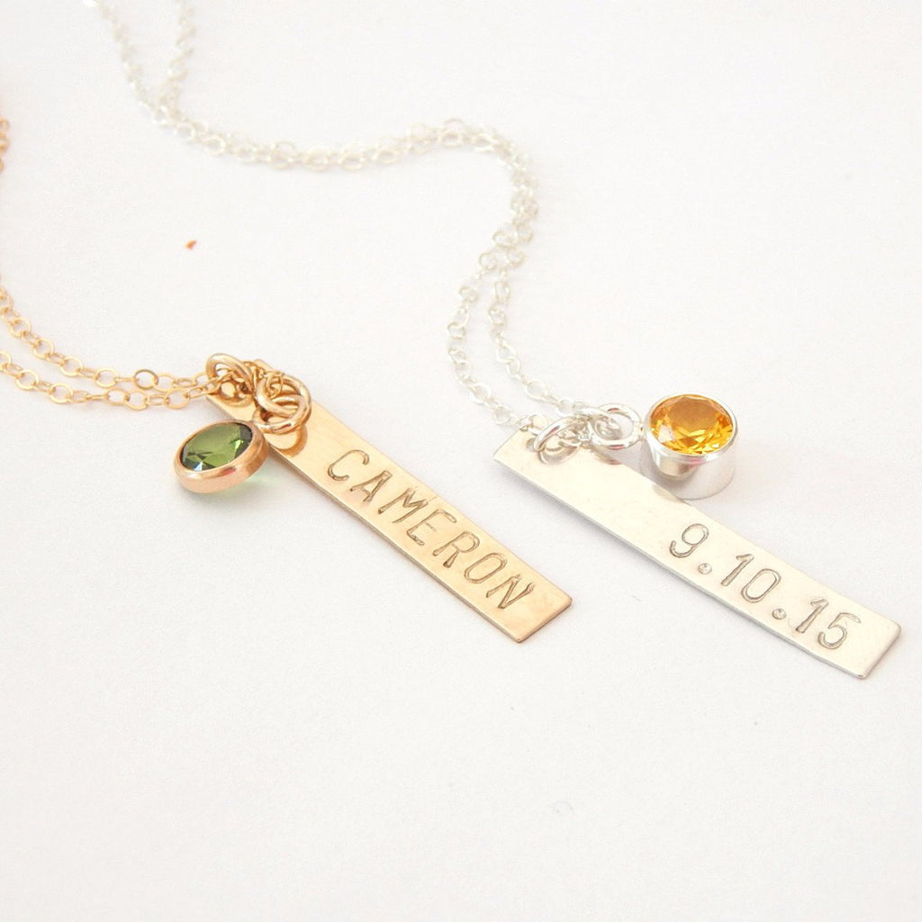Birthstone + Vertical Bar Necklace - Barberry + Lace