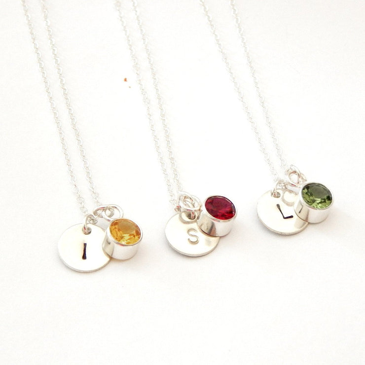 Birthstone + Disc Necklace - Barberry + Lace