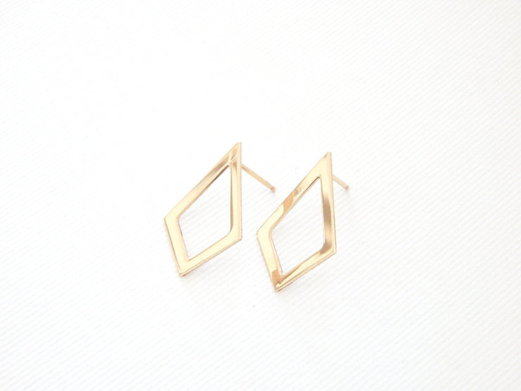 Diamond Cutout Stud Earrings - Barberry + Lace