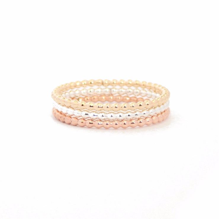 Beaded Stacking Ring - Barberry + Lace