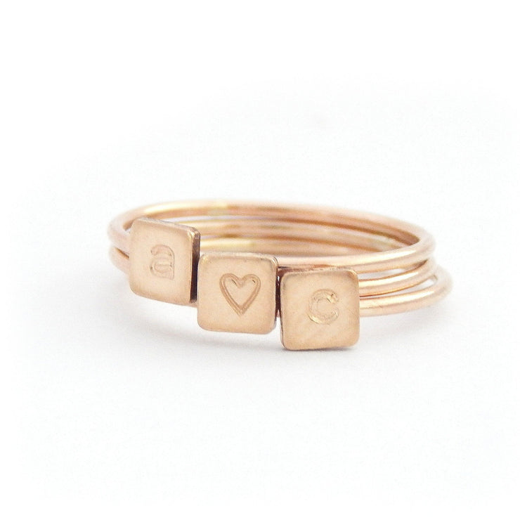 Tiny Square Stacking Ring - Barberry + Lace