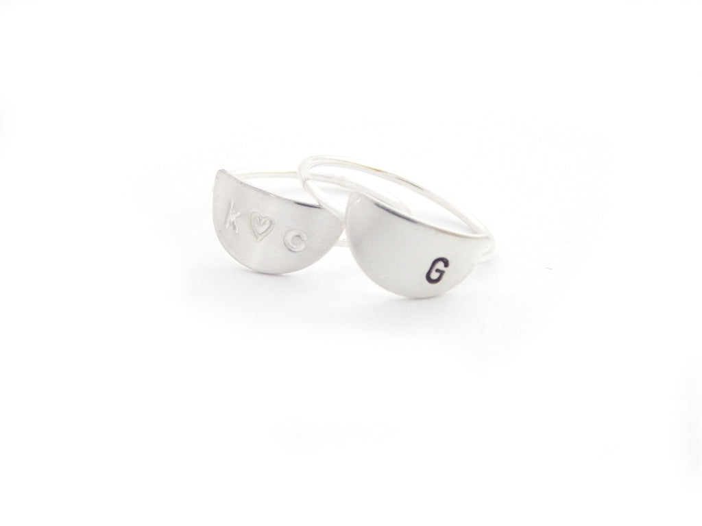 Personalized Crescent Ring