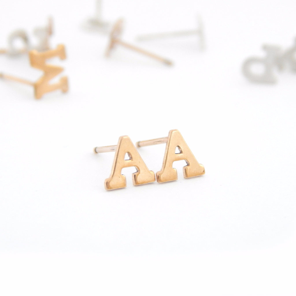 Letter Stud Earrings - Barberry + Lace
