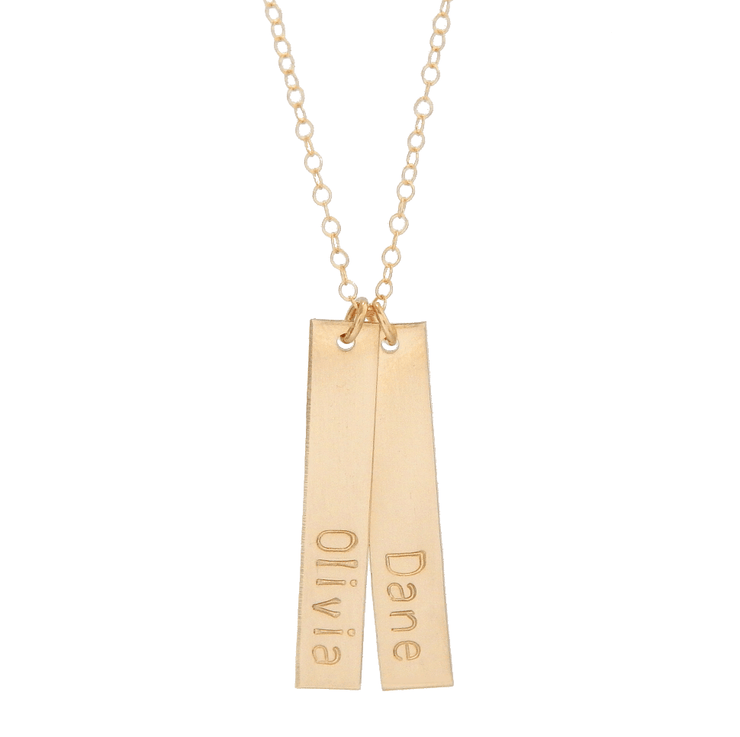 Double Personalized Vertical Bar Necklace - Barberry + Lace