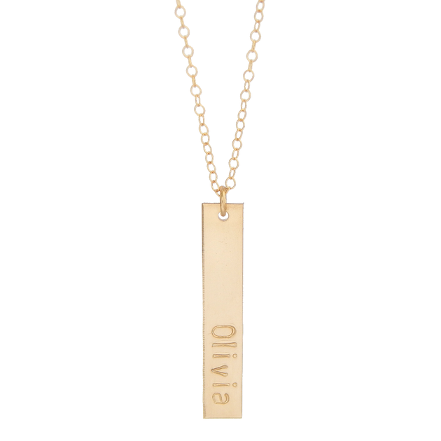 Personalized Vertical Bar Necklace Barberry Lace Jewelry