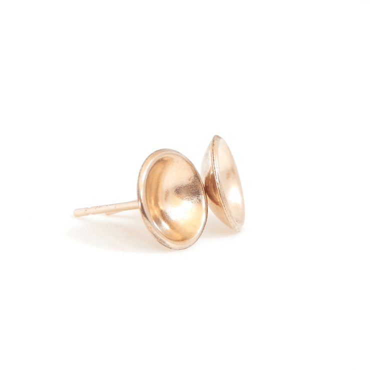 Concave Disc Stud Earrings - Barberry + Lace