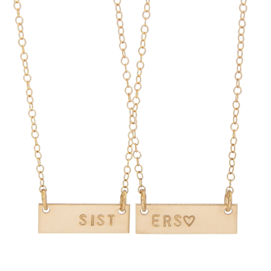Mini Friendship Bar Necklace Set - Barberry + Lace