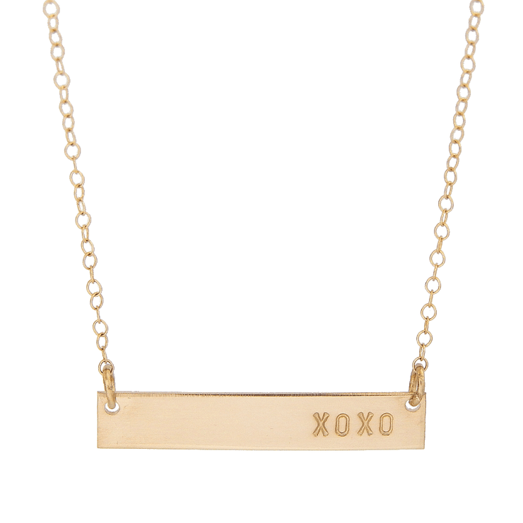 XOXO Bar Necklace - Barberry + Lace