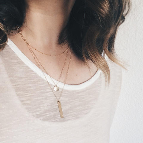 Bar + Disc Layer Necklace Set