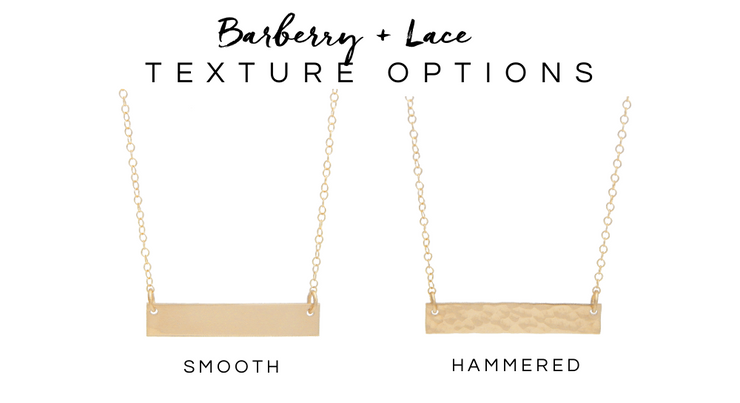 Long Heart Bar Necklace - Barberry + Lace