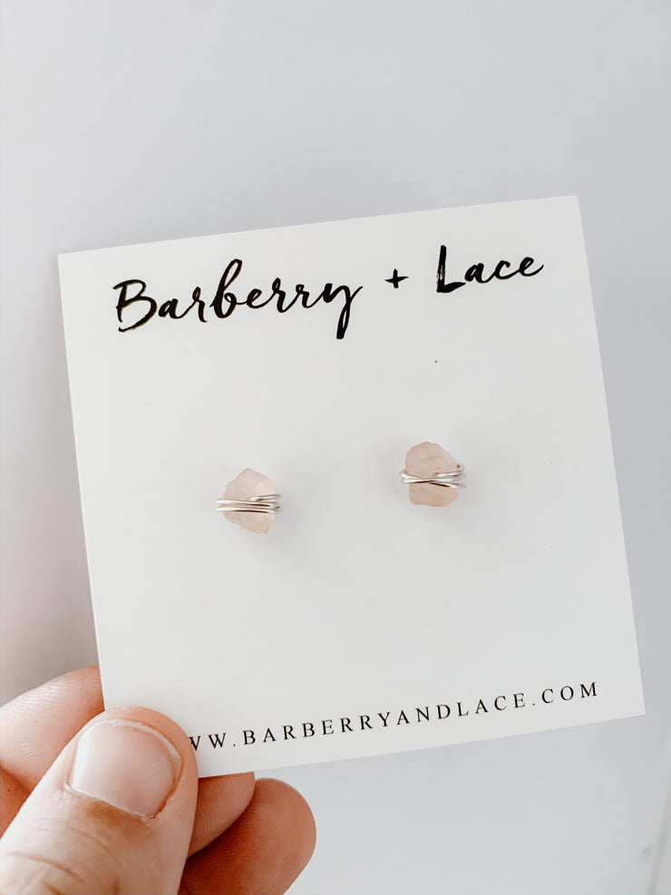 Rose Quartz Wire Wrapped Stud Earrings - Barberry + Lace