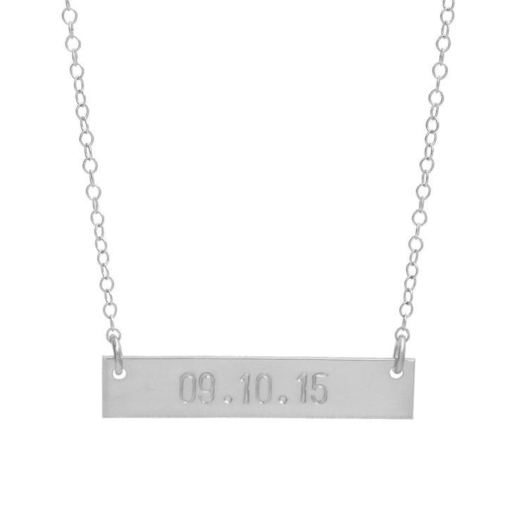 Date Bar Necklace - Barberry + Lace