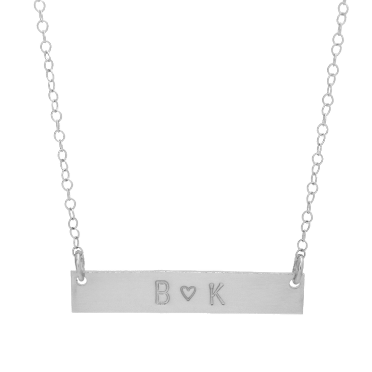 Heart + Initials Bar Necklace - Barberry + Lace