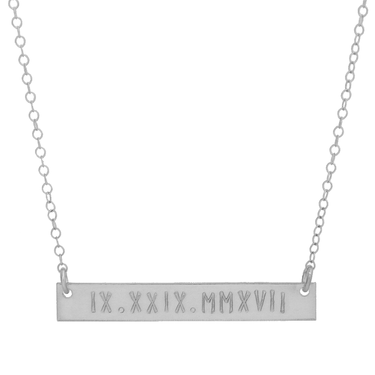 Roman Numeral Bar Necklace - Barberry + Lace
