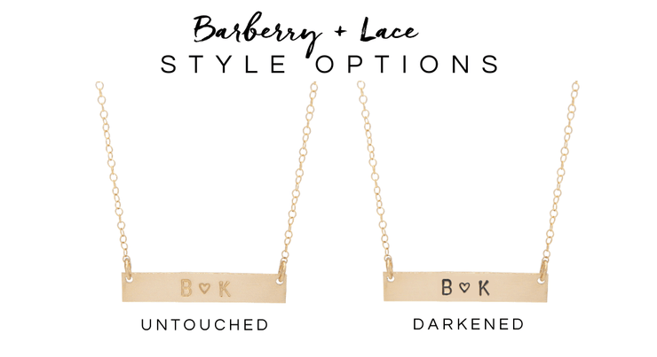Personalized Bar Necklace - Barberry + Lace