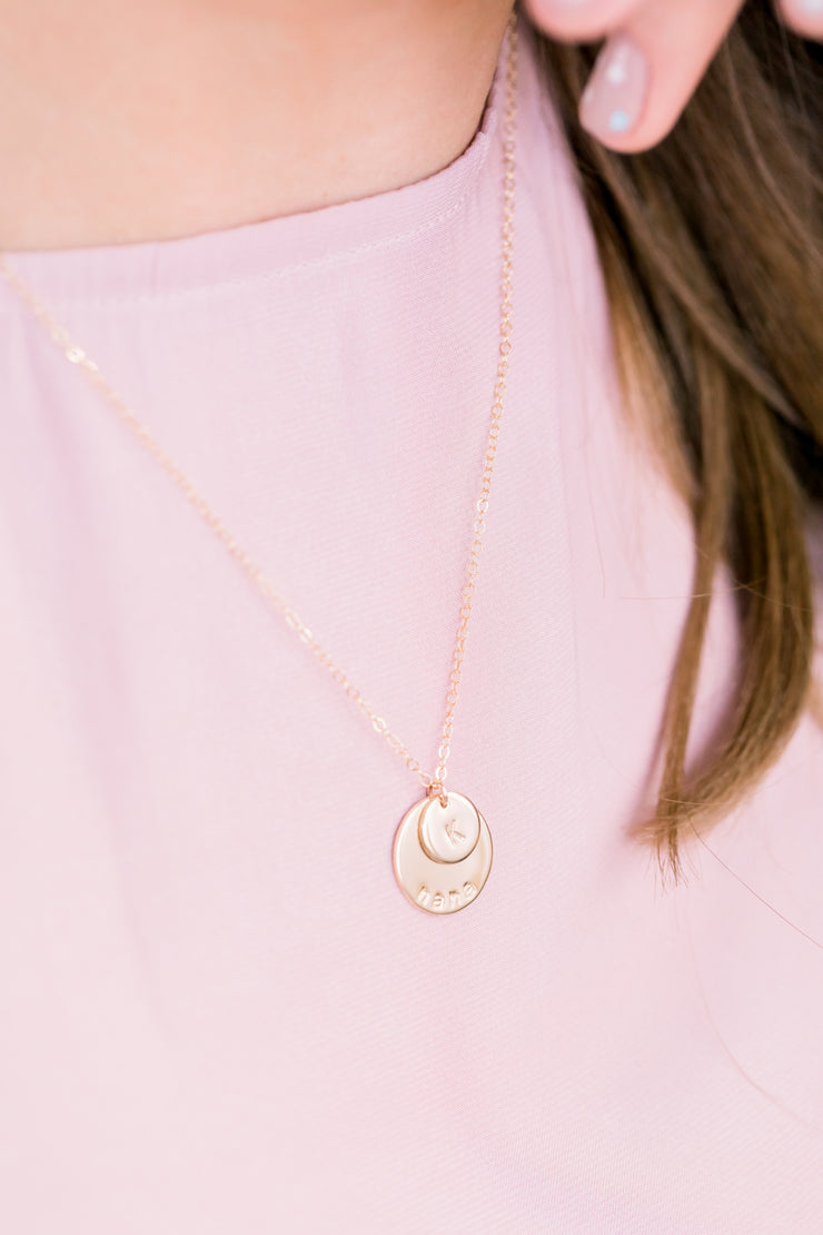 Generations Disc Necklace - Barberry + Lace